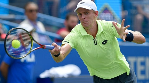 Kevin Anderson, of South Africa, returns the ball to Alexander Zverev, of Germany, during the finals of the Citi Open tennis tournament, Sunday, Aug. 6, 2017, in Washington. Zverev won 6-4, 6-4. (AP Photo/Nick Wass)