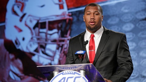 This July 13, 2017 file photo shows North Carolina State's Bradley Chubb speaking to the media during the Atlantic Coast Conference NCAA college football media day in Charlotte, N.C.  Chubb is one of four senior starters returning to the Wolfpack's veteran defensive line. (AP Photo/Chuck Burton, file)