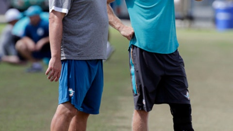 Miami Dolphins quarterback Ryan Tannehill, right, watches practice during an NFL football training camp, Monday, Aug. 7, 2017, in Davie, Fla. Tannehill is out with a left knee injury that could sideline him the entire season. (AP Photo/Lynne Sladky)