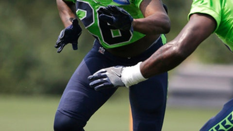 Seattle Seahawks cornerback Shaquill Griffin (26) taks off during a drill during NFL football training camp, Monday, Aug. 7, 2017, in Renton, Wash. (AP Photo/Ted S. Warren)