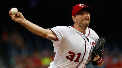 Washington Nationals starting pitcher Max Scherzer throws during the first inning of a baseball game against the Miami Marlins, Monday, Aug. 7, 2017, in Washington. (AP Photo/Carolyn Kaster)