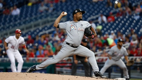Miami Marlins pitcher Odrisamer Despaigne throws in the second inning of a baseball game against the Washington Nationals, Monday, Aug. 7, 2017, in Washington. (AP Photo/Carolyn Kaster)