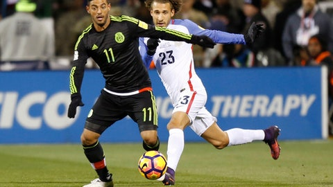 FILE - In this Nov. 11, 2016, file photo, Mexico's Carlos Vela, left, keeps the ball away from United States' Fabian Johnson during the first half of a World Cup qualifying soccer match, in Columbus, Ohio. A person with knowledge of the deal tells The Associated Press that Mexican star Carlos Vela has reached a deal to join Los Angeles Football Club, the expansion MLS franchise due to begin play in March. The person spoke to the AP on condition of anonymity Tuesday, Aug. 8, 2017, because LAFC hasn't formally announced its first designated player signing. (AP Photo/Jay LaPrete, File)