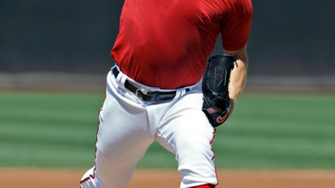 Washington Nationals pitcher Stephen Strasburg throws from the mound during a simulated baseball game, Wednesday, Aug. 9, 2017, at Nationals Park in Washington. Strasburg is on disabled list recovering from an elbow injury. (AP Photo/Carolyn Kaster)