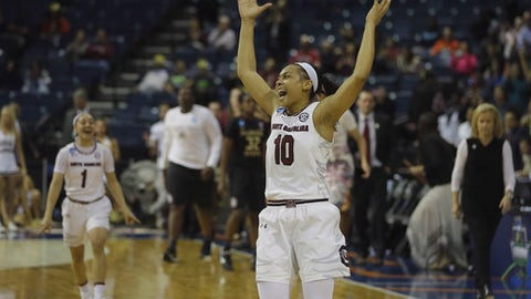 South Carolina guard Allisha Gray celebrates as the final buzzer sounds and the Gamecocks beat Florida State, 71-64, in a regional final game of the women's NCAA college basketball tournament, Monday, March 27, 2017, in Stockton, Calif. (AP Photo/Rich Pedroncelli)