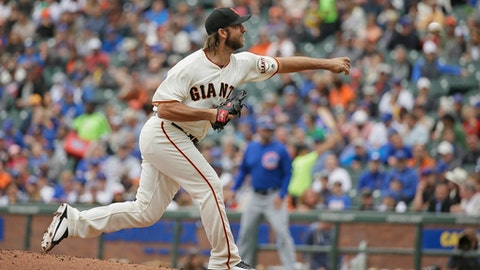 San Francisco Giants starting pitcher Madison Bumgarner works in the first inning of the team's baseball game against the Chicago Cubs on Wednesday, Aug. 9, 2017, in San Francisco. San Francisco won 3-1. (AP Photo/Eric Risberg)