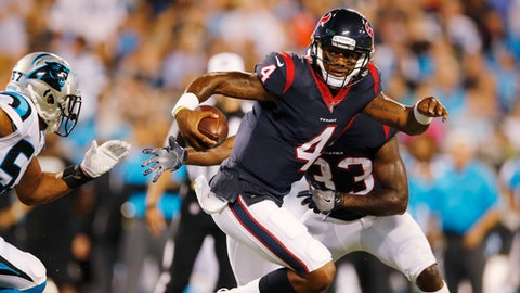 Houston Texans quarterback Deshaun Watson (4) runs against the Carolina Panthers during the first half of an NFL preseason football game, Wednesday, Aug. 9, 2017, in Charlotte, N.C. (AP Photo/Jason E. Miczek)
