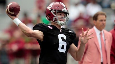 FILE - In this April 18, 2015, file photo, Alabama quarterback Blake Barnett (6) throws a pass during the second half of Alabama's spring NCAA college football game, Saturday, April 18, 2015, in Tuscaloosa, Ala. Manny Wilkins is Arizona State's returning starter but will be pushed by Alabama transfer Barnett. (AP Photo/Butch Dill, File)