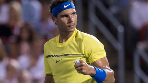 Rafael Nadal, of Spain, reacts after winning the first set over Denis Shapovalov, of Canada, at the Rogers Cup tennis tournament Thursday, Aug. 10, 2017, in Montreal. (Paul Chiasson/The Canadian Press via AP)