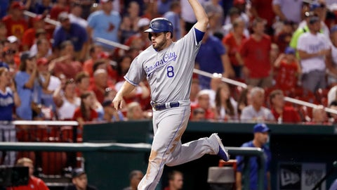 Kansas City Royals' Mike Moustakas celebrates as he scores on a two-run double by Brandon Moss during the eighth inning of a baseball game against the St. Louis Cardinals Thursday, Aug. 10, 2017, in St. Louis. (AP Photo/Jeff Roberson)