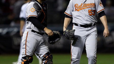 Baltimore Orioles' Zach Britton, right, and catcher Welington Castillo celebrate the team's 7-2 win over the Oakland Athletics in a baseball game Thursday, Aug. 10, 2017, in Oakland, Calif. (AP Photo/Ben Margot)
