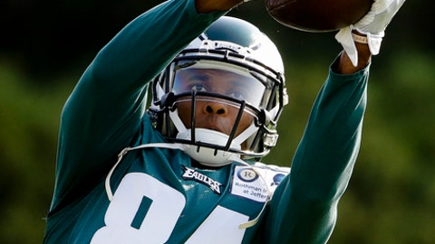 FILE - In this Aug. 4, 2017, file photo, Philadelphia Eagles wide receiver Jordan Matthews catches a ball during an NFL football training camp in Philadelphia. The Buffalo Bills shook up their roster with two separate blockbuster trades Friday, Aug. 11, 2017, dealing starting receiver Sammy Watkins to the Los Angeles Rams and acquiring receiver Jordan Matthews from Philadelphia in exchange for cornerback Ronald Darby. The Bills acquired cornerback E.J. Gaines from the Rams. (AP Photo/Matt Rourke, File)