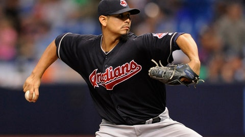 Cleveland Indians starter Carlos Carrasco pitches against the Tampa Bay Rays during the seventh inning of a baseball game Friday, Aug. 11, 2017, in St. Petersburg, Fla. (AP Photo/Steve Nesius)