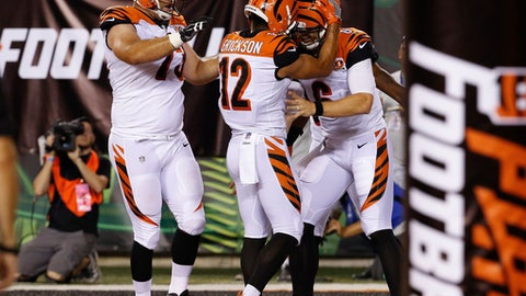 Cincinnati Bengals quarterback Jeff Driskel (6) celebrates running in a touchdown with wide receiver Alex Erickson (12) and offensive tackle Eric Winston, left, during the second half of a preseason NFL football game against the Tampa Bay Buccaneers, Friday, Aug. 11, 2017, in Cincinnati. (AP Photo/Frank Victores)