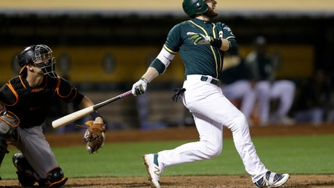 Oakland Athletics' Jed Lowrie watches his RBI double against the Baltimore Orioles during the eighth inning of a baseball game Friday, Aug. 11, 2017, in Oakland, Calif. The Athletics won 5-4. (AP Photo/Ben Margot)
