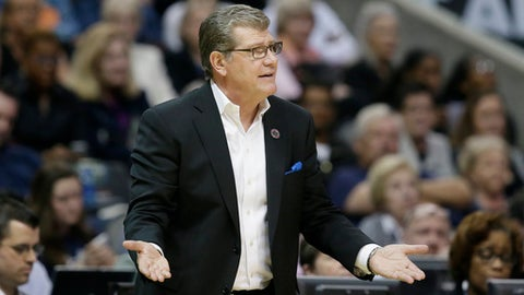 FILE - In this March 31, 2017 file photo, Connecticut head coach Geno Auriemma questions a call during the second half of an NCAA college basketball game against Mississippi State during an NCAA college basketball game in the semifinals of the women's Final Four  in Dallas.  The University of Connecticut women's basketball team is off on a 10-day tour of Italy. The Huskies will play exhibition games in Rome, Florence, Trieste and Venice.(AP Photo/LM Otero)