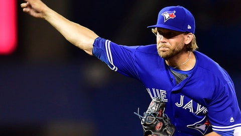 Toronto Blue Jays starting pitcher Chris Rowley works during first inning baseball action against the Pittsburgh Pirates, in Toronto on Saturday, Aug. 12, 2017. (Frank Gunn/The Canadian Press via AP)