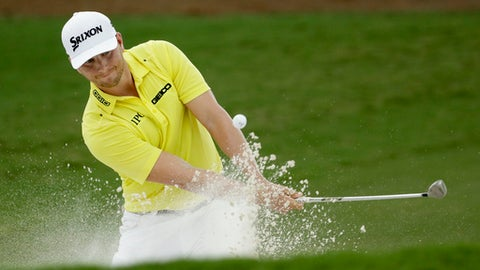Chris Stroud hits from the bunker on the second hole during the third round of the PGA Championship golf tournament at the Quail Hollow Club Saturday, Aug. 12, 2017, in Charlotte, N.C. (AP Photo/Chris O'Meara)