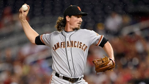 San Francisco Giants starting pitcher Jeff Samardzija delivers a pitch during the first inning of the team's baseball game against the Washington Nationals, Saturday, Aug. 12, 2017, in Washington. (AP Photo/Nick Wass)
