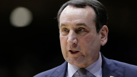 FILE - This is a Feb. 28, 2017, file photo showing Duke head coach Mike Krzyzewski during the first half of an NCAA college basketball game against Florida State, in Durham, N.C. Krzyzewski has undergone knee replacement surgery. Team spokesman Cory Walton says the procedure on his right knee was performed Sunday, Aug. 13, 2017 by Dr. Michael Bolognesi at the university's hospital. (AP Photo/Gerry Broome, File)