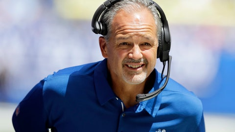 Indianapolis Colts head coach Chuck Pagano watches from the sideline during the first half of an NFL preseason football game against the Detroit Lions, Sunday, Aug. 13, 2017, in Indianapolis. (AP Photo/Darron Cummings)