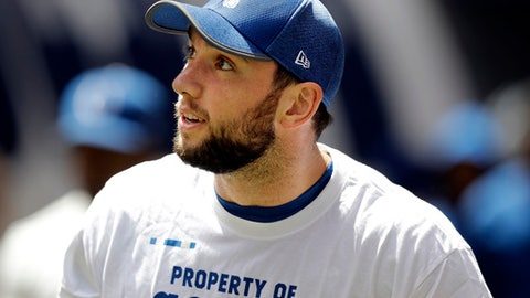 Injured Indianapolis Colts quarterback Andrew Luck watches from the sideline during the first half of an NFL preseason football game against the Detroit Lions, Sunday, Aug. 13, 2017, in Indianapolis. (AP Photo/Darron Cummings)