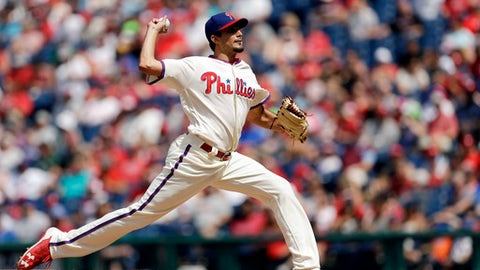 Philadelphia Phillies' Zach Eflin pitches during the third inning of a baseball game against the New York Mets, Sunday, Aug. 13, 2017, in Philadelphia. (AP Photo/Matt Slocum)