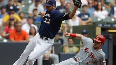 Cincinnati Reds' Scooter Gennett is safe at home as Milwaukee Brewers' Matt Garza can't handle the throw during the sixth inning of a baseball game Sunday, Aug. 13, 2017, in Milwaukee. (AP Photo/Morry Gash)