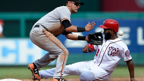 Washington Nationals' Brian Goodwin, right, steals second against San Francisco Giants second baseman Joe Panik, left, during the eighth inning of the first baseball game of a split doubleheader, Sunday, Aug. 13, 2017, in Washington. (AP Photo/Nick Wass)