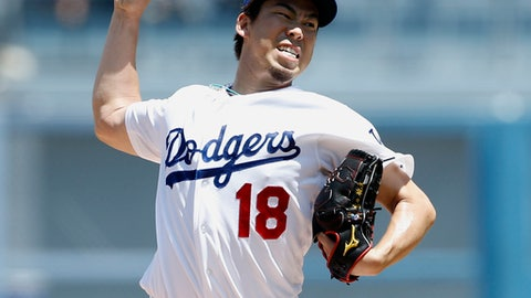 Los Angeles Dodgers starting pitcher Kenta Maeda throws to the plate against the San Diego Padres during the first inning of a baseball game in Los Angeles, Sunday, Aug. 13, 2017. (AP Photo/Alex Gallardo)