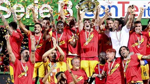 FILE - in this Thursday, June 8, 2017 file photo, Benevento players celebrate their promotion to the Serie A championship at the Vigorito stadium, in Benevento, southern Italy. A look at Spal, Hellas Verona and Benevento as the promoted teams prepare for this weekend's opening of the Italian league season. (Ciro Fusco/ANSA via AP)