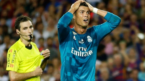 Cristiano Ronaldo sees RED, sent off for diving and pushes referee