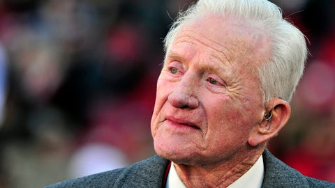 FILE - In this Nov. 23, 2012, file photo, former Arkansas coach and athletic director Frank Broyles is recognized during an NCAA college football game between LSU and Arkansas, in Fayetteville, Ark. Broyles, who guided the University of Arkansas to its lone national football championship and later molded the overall program as its athletic director, died Monday, Aug. 14, 2017, at his home in Fayetteville, Ark., from complications of Alzheimer's disease, according to a statement from his family. He was 92. (AP Photo/April L. Brown, File)