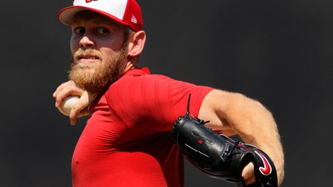 FILE - In this Aug. 9, 2017, file photo, Washington Nationals pitcher Stephen Strasburg throws from the mound during a simulated baseball game, at Nationals Park in Washington. Strasburg has been on the disabled list with a nerve impingement in his right elbow since July 27, 2017. (AP Photo/Carolyn Kaster, File)