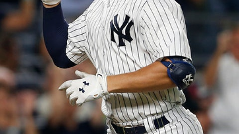 New York Yankees' Aaron Judge gestures after hitting a home run against the New York Mets during the sixth inning of a baseball game Monday, Aug. 14, 2017, at Yankee Stadium in New York. (AP Photo/Rich Schultz)