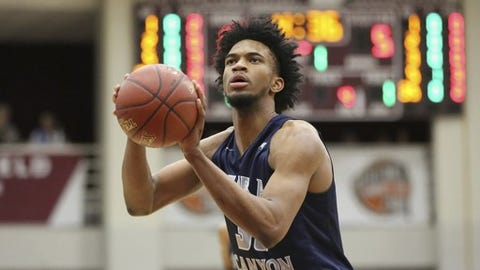 Sierra Canyon's Marvin Bagley III #35 shoots a free throw against La Lumiere during a high school basketball game at the 2017 Hoophall Classic on Monday, January 16, 2017, in Springfield, MA.. (AP Photo/Gregory Payan)