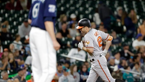 Baltimore Orioles' Seth Smith rounds the bases on his two-run home run as Seattle Mariners relief pitcher Casey Lawrence waits on the mound in the fifth inning of a baseball game Monday, Aug. 14, 2017, in Seattle. (AP Photo/Elaine Thompson)