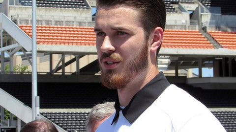 Oregon State quarterback Jake Luton speaks to reporters at Reser Stadium in Corvallis, Ore., on Tuesday, July 18, 2017, before the start of fall camp. Luton has been named the Beavers' starter for the upcoming season. (AP Photo/Anne M. Peterson)