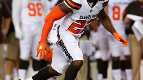 """FILE - In this Aug. 10, 2017, file photo, Cleveland Browns safety Jabrill Peppers plays against the New Orleans Saints during the first half of an NFL preseason football game, in Cleveland. Peppers has instincts on the football field that can't be taught or coached. He's a natural. """"When he was born, there was probably a football right next to him,"""" Browns special team's coordinator Chris Tabor said of Peppers.(AP Photo/Ron Schwane, File)"""