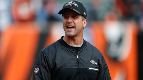 FILE - In this Sunday, Jan. 1, 2017 file photo, Baltimore Ravens head coach John Harbaugh works the field during practice before an NFL football game against the Cincinnati Bengals in Cincinnati. Baltimore Ravens coach John Harbaugh's steely resolve is being tested with nine players already lost for the season because of injuries, suspension or retirement. Nonetheless, Harbaugh contends the Ravens have enough depth to overcome those challenges, Tuesday, Aug. 15, 2017.(AP Photo/Gary Landers, File)