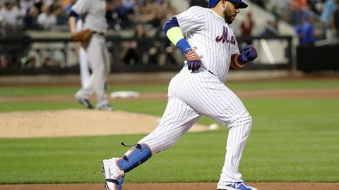 New York Mets' Rene Rivera (44) runs the bases after hitting a home run during the fifth inning of a baseball game against the New York Yankees Wednesday, Aug. 16, 2017, in New York. (AP Photo/Frank Franklin II)
