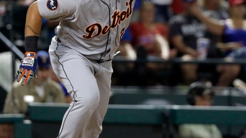 Detroit Tigers' Miguel Cabrera follows through on a single to right in the seventh inning of a baseball game against the Texas Rangers on Wednesday, Aug. 16, 2017, in Arlington, Texas. Cabrera was thrown out at second trying to stretch the hit into a double. (AP Photo/Tony Gutierrez)