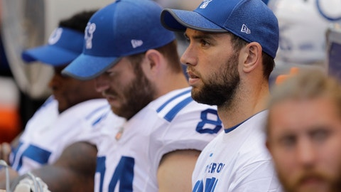 FILE - In this Aug. 13, 2017, file photo, Indianapolis Colts quarterback Andrew Luck watches from the bench during the second half of an NFL preseason football game against the Detroit Lions, in Indianapolis. Nobody is saying when Luck might be activated from the physically unable to perform list. (AP Photo/Darron Cummings, File)