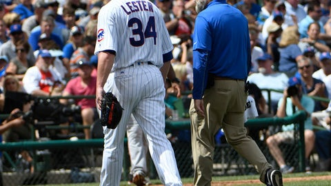 Chicago Cubs starting pitcher Jon Lester (34) leaves the game during the second inning of a baseball game against the Cincinnati Reds, Thursday, Aug. 17, 2017, in Chicago. (AP Photo/David Banks)