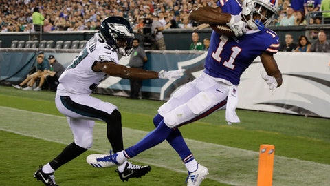 Buffalo Bills' Zay Jones (11) cannot get down in bounds on a pass in the end zone, against Philadelphia Eagles' C.J. Smith (37) during the first half of an NFL preseason football game, Thursday, Aug. 17, 2017, in Philadelphia. (AP Photo/Michael Perez)