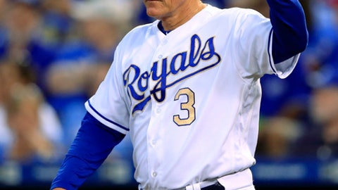 Kansas City Royals manager Ned Yost calls for a new pitcher during the third inning of the team's baseball game against the Cleveland Indians at Kauffman Stadium in Kansas City, Mo., Friday, Aug. 18, 2017. (AP Photo/Orlin Wagner)