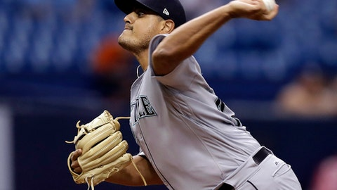 Seattle Mariners relief pitcher James Pazos delivers to the Tampa Bay Rays during the seventh inning of a baseball game Friday, Aug. 18, 2017, in St. Petersburg, Fla. (AP Photo/Chris O'Meara)