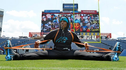 Carolina Panthers quarterback Cam Newton warms up before an NFL football preseason game against the Tennessee Titans, Saturday, Aug. 19, 2017, in Nashville, Tenn. (AP Photo/Mark Zaleski)