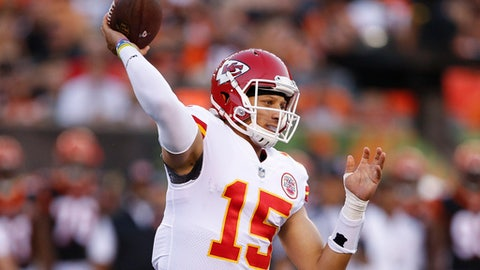 Kansas City Chiefs quarterback Patrick Mahomes throws a pass during the first half of an NFL preseason football game against the Cincinnati Bengals, Saturday, Aug. 19, 2017, in Cincinnati. (AP Photo/Gary Landers)
