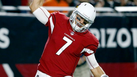 Arizona Cardinals quarterback Blaine Gabbert (7) celebrates his touchdown against the Chicago Bears during the second half of a preseason NFL football game, Saturday, Aug. 19, 2017, in Glendale, Ariz. (AP Photo/Ross D. Franklin)